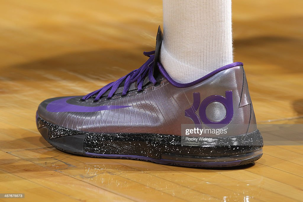 The shoes belonging to Jason Thompson #34 of the Sacramento Kings in a game against the Houston Rockets on December 15, 2013 at Sleep Train Arena in Sacramento, California.