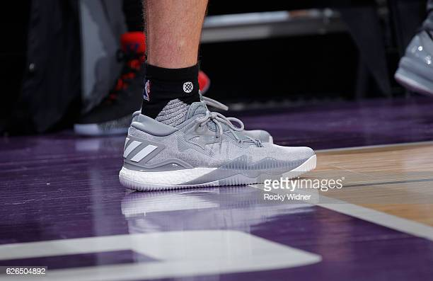 The shoes belonging to JJ Redick of the Los Angeles Clippers in a game against the Sacramento Kings on November 18 2016 at Golden 1 Center in...