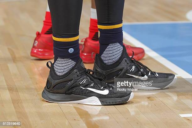 The shoes belonging to Joffrey Lauvergne of the Denver Nuggets in a game against the Sacramento Kings on February 19 2016 at Sleep Train Arena in...