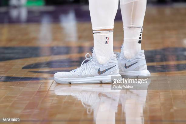 The shoes belonging to Jusuf Nurkic of the Portland Trail Blazers in a game against the Sacramento Kings on October 9 2017 at Golden 1 Center in...