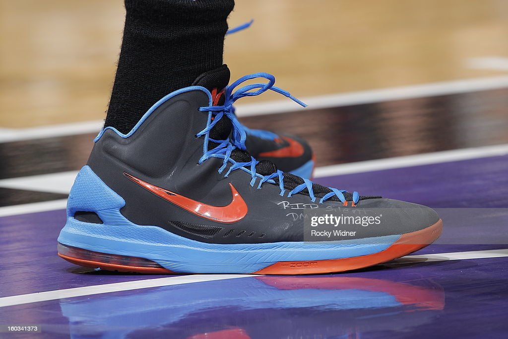 The shoes belonging to <a gi-track='captionPersonalityLinkClicked' href=/galleries/search?phrase=Kevin+Durant&family=editorial&specificpeople=3847329 ng-click='$event.stopPropagation()'>Kevin Durant</a> #35 of the Oklahoma City Thunder in a game against the Sacramento Kings on January 25, 2013 at Sleep Train Arena in Sacramento, California.