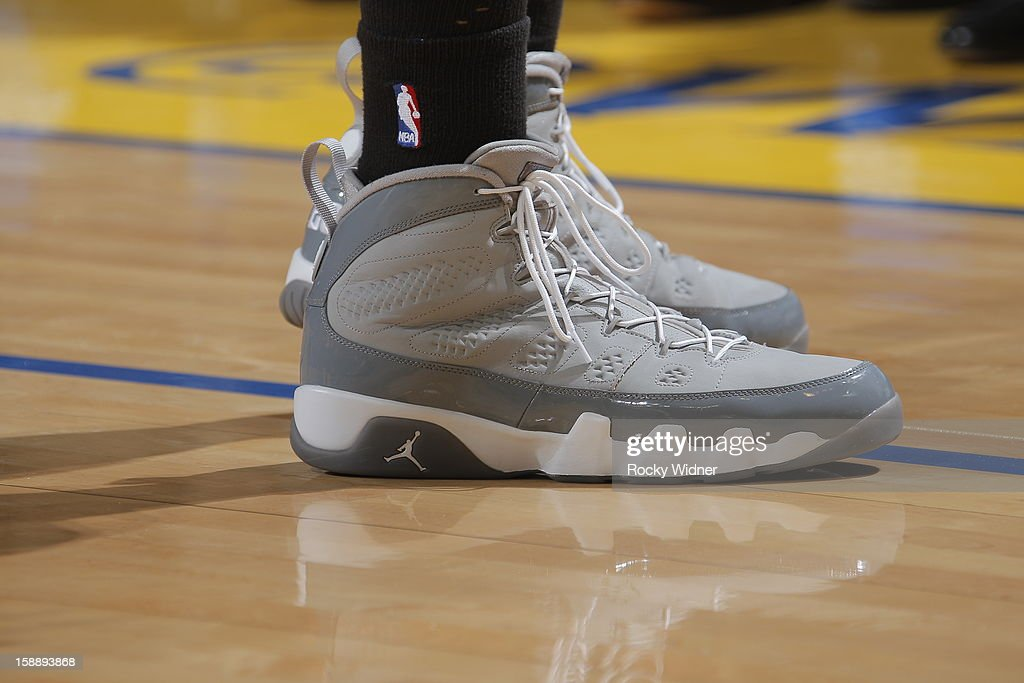The shoes belonging to Kris Joseph #43 of the Boston Celtics in a game against the Golden State Warriors on December 29, 2012 at Oracle Arena in Oakland, California.