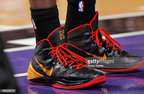 The shoes belonging to Kyrie Irving of the Cleveland Cavaliers in a game against the Sacramento Kings on January 12 2014 at Sleep Train Arena in...