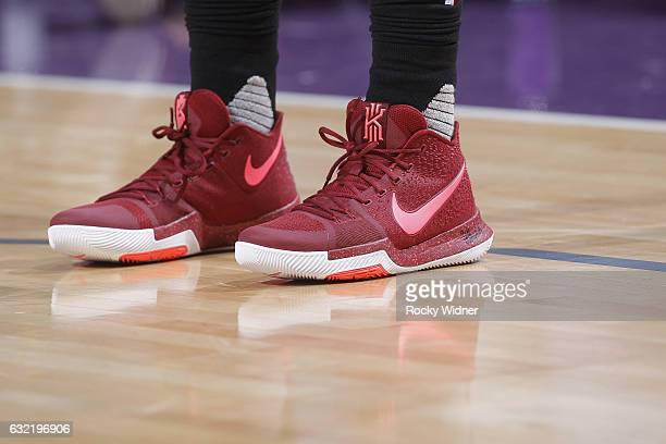 The shoes belonging to Kyrie Irving of the Cleveland Cavaliers in a game against the Sacramento Kings on January 13 2017 at Golden 1 Center in...