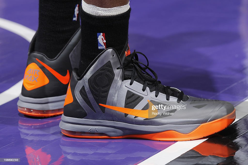 The shoes belonging to Marcus Camby #23 of the New York Knicks in a game against the Sacramento Kings on December 28, 2012 at Sleep Train Arena in Sacramento, California.