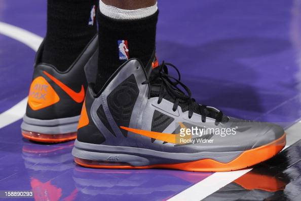 The shoes belonging to Marcus Camby of the New York Knicks in a game against the Sacramento Kings on December 28 2012 at Sleep Train Arena in...
