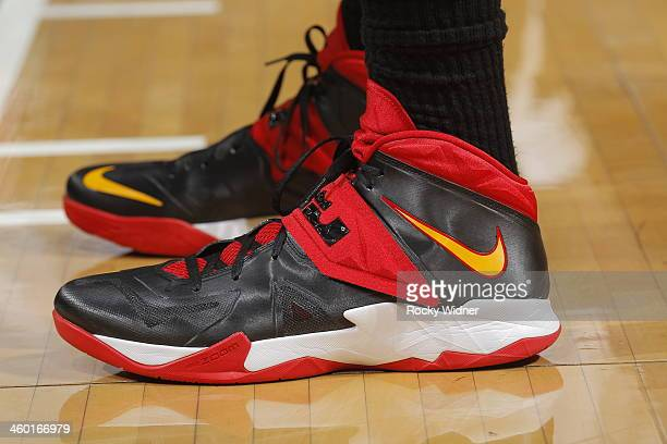 The shoes belonging to Michael Beasley of the Miami Heat in a game against the Sacramento Kings on December 27 2013 at Sleep Train Arena in...