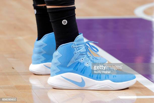 The shoes belonging to Nikola Jokic of the Denver Nuggets in a game against the Sacramento Kings on March 11 2017 at Golden 1 Center in Sacramento...