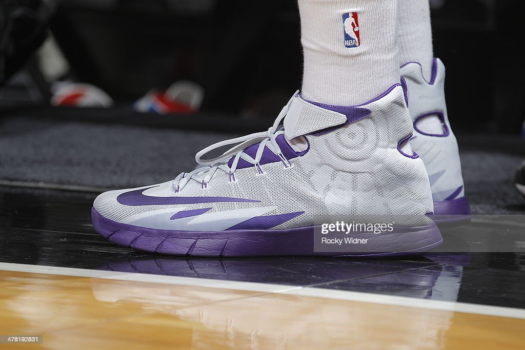The shoes belonging to Orlando Johnson #0 of the Sacramento Kings in a game against the New Orleans Pelicans on March 3, 2014 at Sleep Train Arena in Sacramento, California.