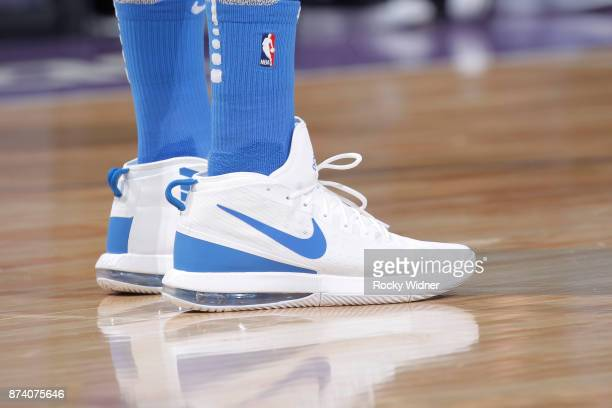 The shoes belonging to Patrick Patterson of the Oklahoma City Thunder in a game against the Sacramento Kings on November 7 2017 at Golden 1 Center in...
