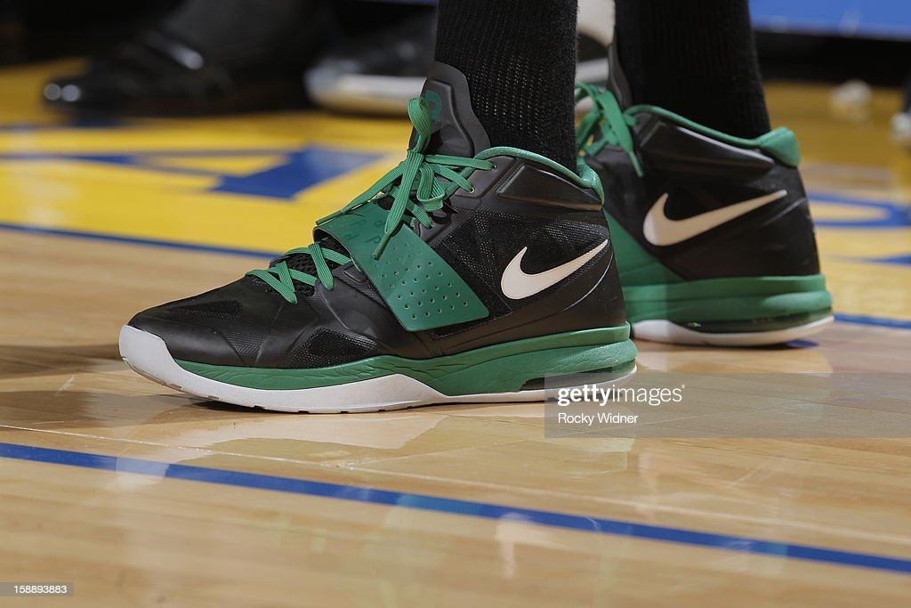The shoes belonging to <a gi-track='captionPersonalityLinkClicked' href=/galleries/search?phrase=Paul+Pierce&family=editorial&specificpeople=201562 ng-click='$event.stopPropagation()'>Paul Pierce</a> #34 of the Boston Celtics in a game against the Golden State Warriors on December 29, 2012 at Oracle Arena in Oakland, California.