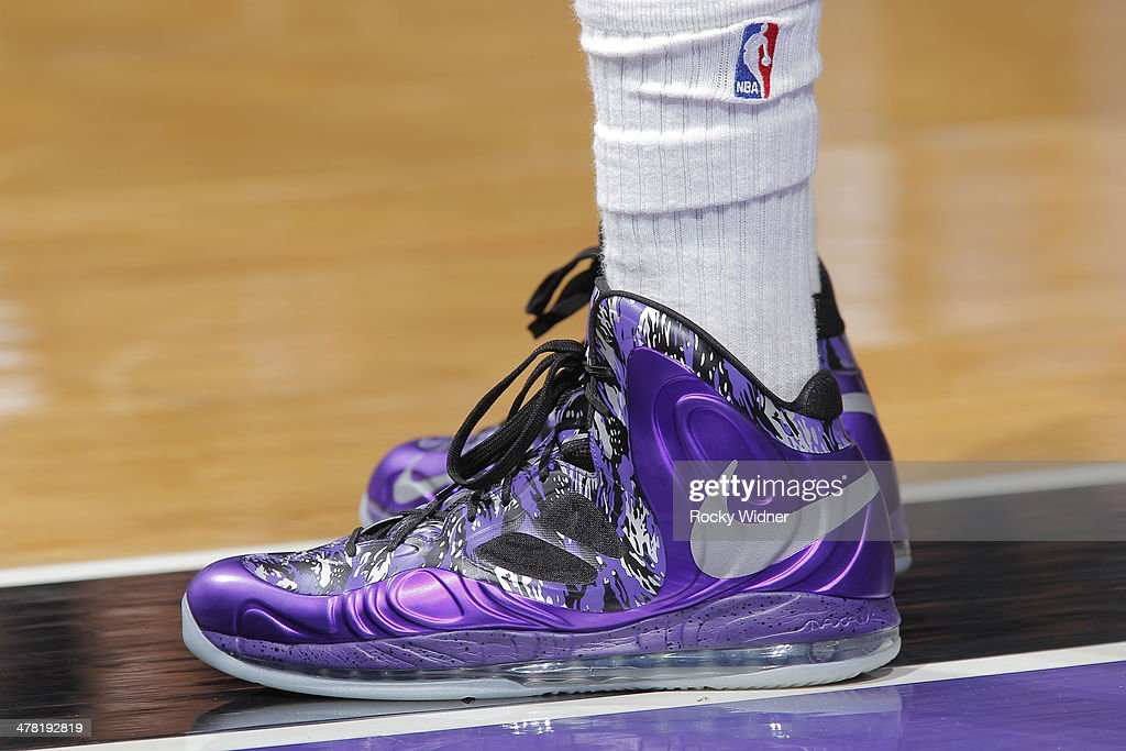 The shoes belonging to Rudy Gay #8 of the Sacramento Kings in a game against the New Orleans Pelicans on March 3, 2014 at Sleep Train Arena in Sacramento, California.
