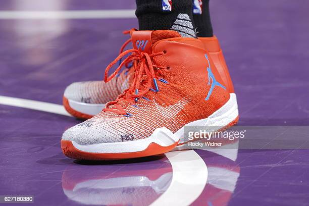 The shoes belonging to Russell Westbrook of the Oklahoma City Thunder in a game against the Sacramento Kings on November 23 2016 at Golden 1 Center...