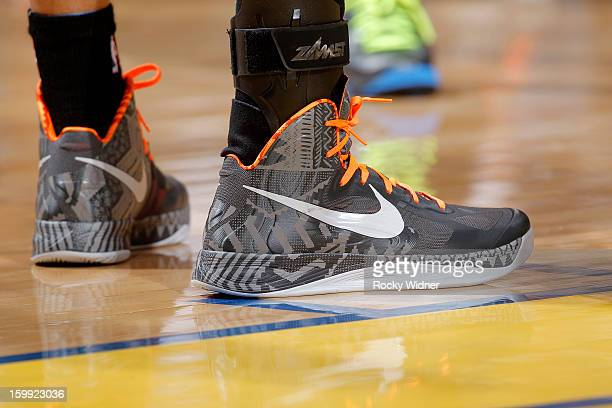 The shoes belonging to Stephen Curry of the Golden State Warriors in a game against the Los Angeles Clippers on January 21 2013 at Oracle Arena in...