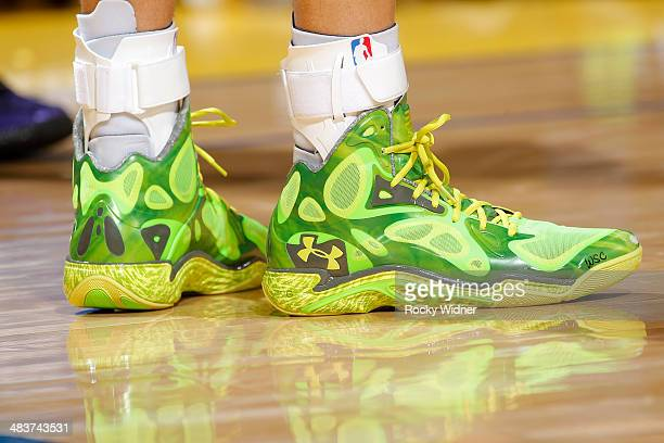 The shoes belonging to Stephen Curry of the Golden State Warriors in a game against the Sacramento Kings on April 4 2014 at Oracle Arena in Oakland...