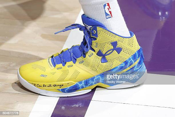 The shoes belonging to Stephen Curry of the Golden State Warriors in a game against the Sacramento Kings on January 9 2016 at Sleep Train Arena in...