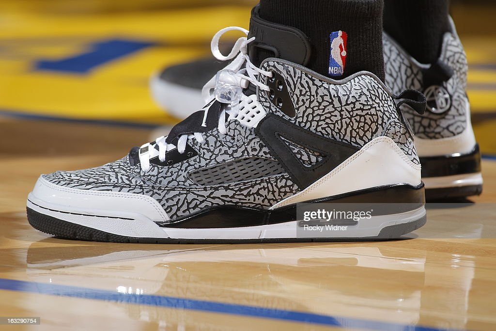 The shoes belonging to Stephen Jackson #3 of the San Antonio Spurs in a game against the Golden State Warriors on February 22, 2013 at Oracle Arena in Oakland, California.
