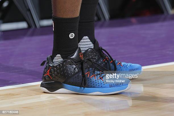 The shoes belonging to Victor Oladipo of the Oklahoma City Thunder in a game against the Sacramento Kings on November 23 2016 at Golden 1 Center in...