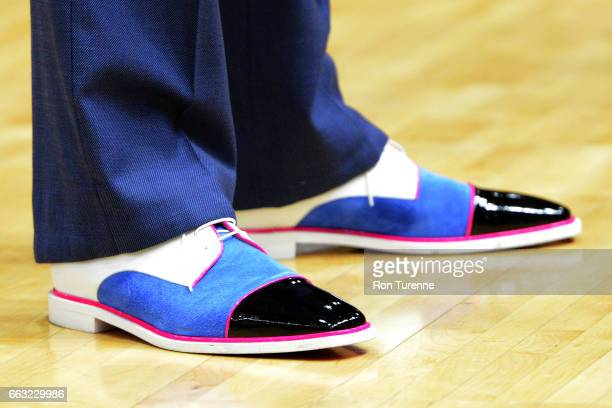 The shoes Jerry Stackhouse of the Raptors 905 before the game against the Windy City Bulls on March 30 2017 in Mississauga Ontario Canada NOTE TO...