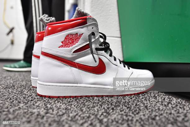 The shoes LeBron James of the Cleveland Cavaliers wore to the arena before Game Five of the Eastern Conference Finals against the Boston Celtics...