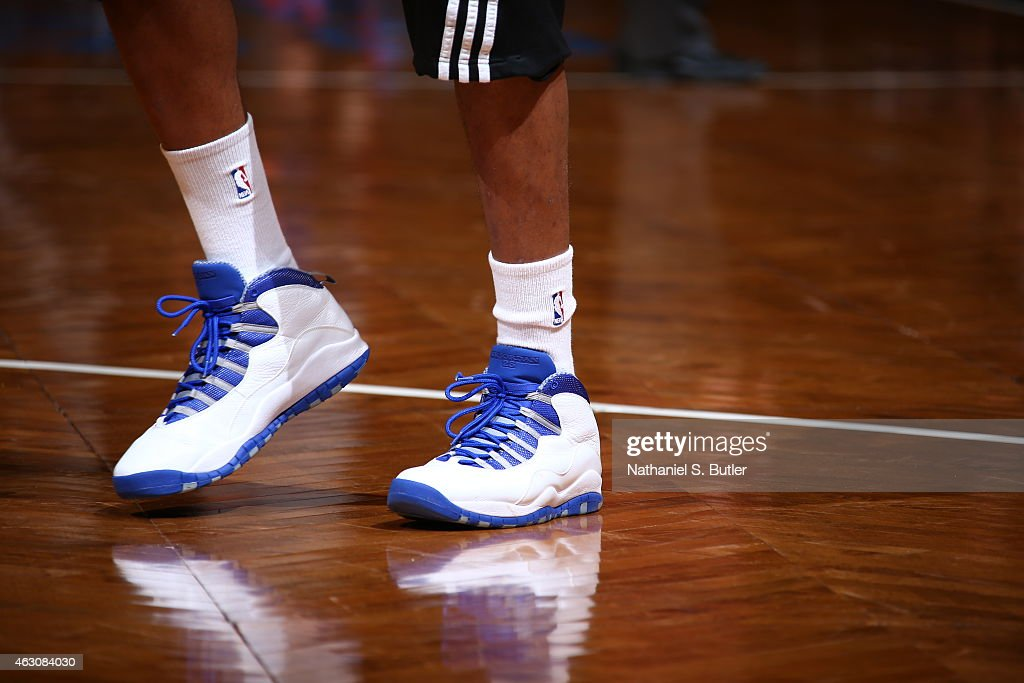 The shoes of Alan Anderson #6 of the Brooklyn Nets are seen prior to the game against the New York Knicks on February 6, 2015 at the Barclays Center in the Brooklyn borough of New York City.