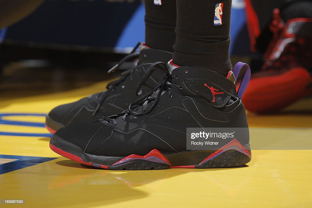 The shoes of <a gi-track='captionPersonalityLinkClicked' href=/galleries/search?phrase=Alan+Anderson&family=editorial&specificpeople=3945355 ng-click='$event.stopPropagation()'>Alan Anderson</a> #6 of the Toronto Raptors during a game against the Golden State Warriors on March 4, 2013 at Oracle Arena in Oakland, California.