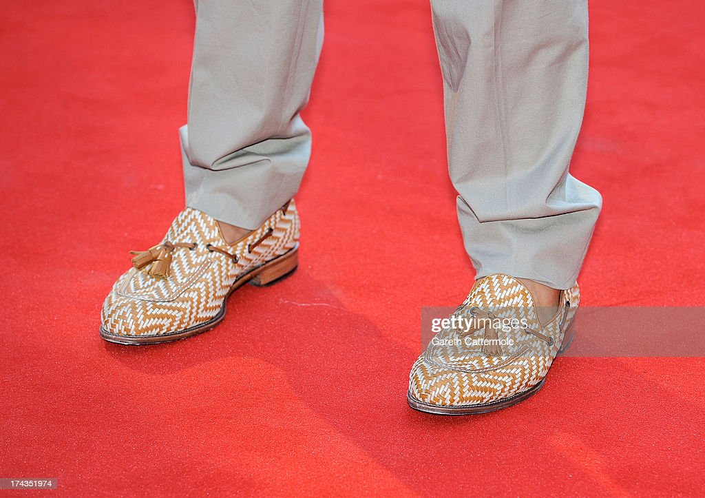 The shoes of Alan Carr as he attends the London Premiere of 'Alan Partidge: Alpha Papa' at Vue Leicester Square on July 24, 2013 in London, England.