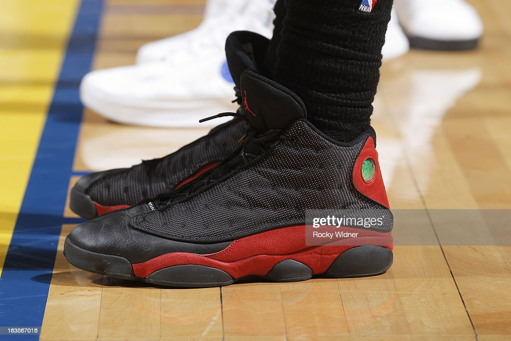 The shoes of Amir Johnson #15 of the Toronto Raptors during a game against the Golden State Warriors on March 4, 2013 at Oracle Arena in Oakland, California.
