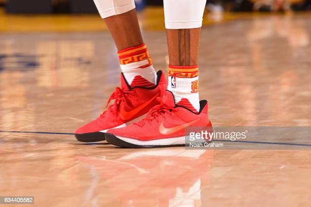 The shoes of Andre Iguodala of the Golden State Warriors during the game against the Chicago Bulls on February 8 2017 at ORACLE Arena in Oakland...