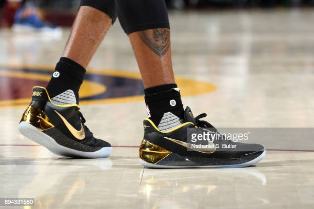 The shoes of Andre Iguodala of the Golden State Warriors in Game Four of the 2017 NBA Finals against the Cleveland Cavaliers on June 9 2017 at...