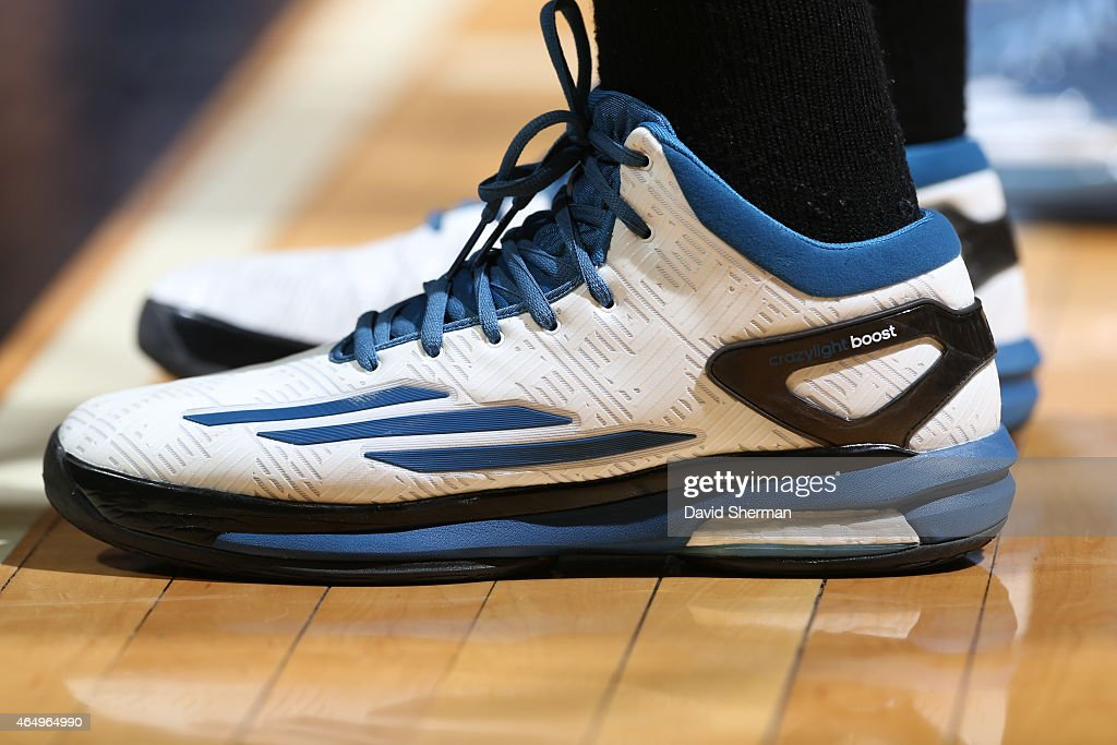 The shoes of Andrew Wiggins 22 of the Minnesota Timberwolves during