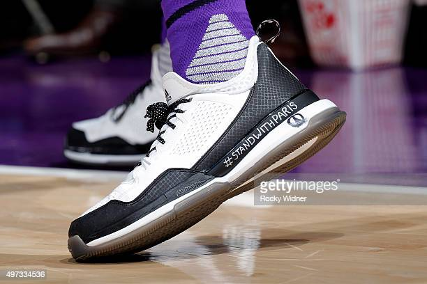 The shoes of Ben McLemore of the Sacramento Kings against the Toronto Raptors at Sleep Train Arena on November 15 2015 in Sacramento California NOTE...