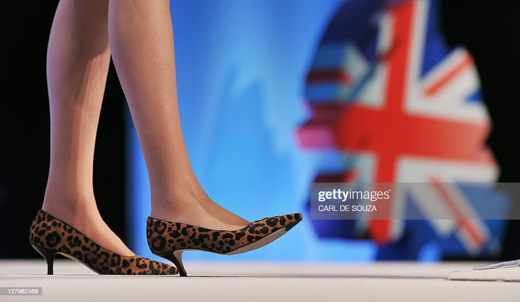 The shoes of British Home Secretary Theresa May are pictured as she addresses delegates at the Conservative Party Conference in Manchester, north-west England, on October 4, 2011.