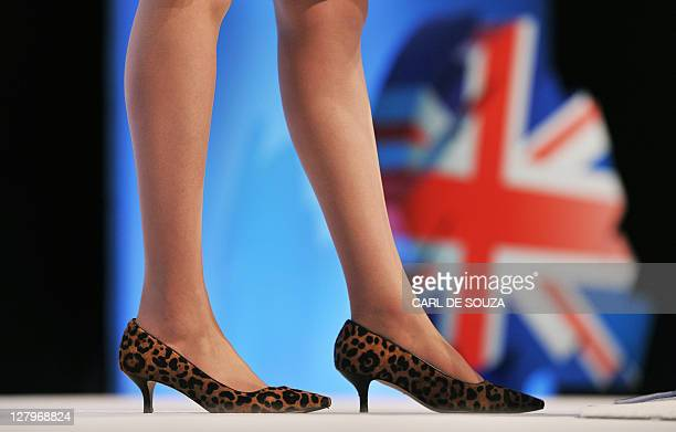 The shoes of British Home Secretary Theresa May are pictured as she addresses delegates at the Conservative Party Conference in Manchester northwest...