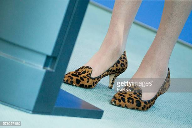 The shoes of British Prime Minister Theresa May are pictured during a news conference hold with German Chancellor Angela Merkel at the Chancellery in...