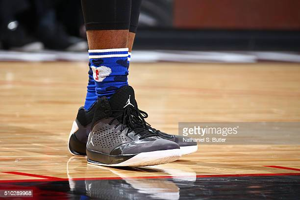 The shoes of Carmelo Anthony of the Eastern Conference during the NBA AllStar Game as part of 2016 NBA AllStar Weekend on February 14 2016 at the Air...