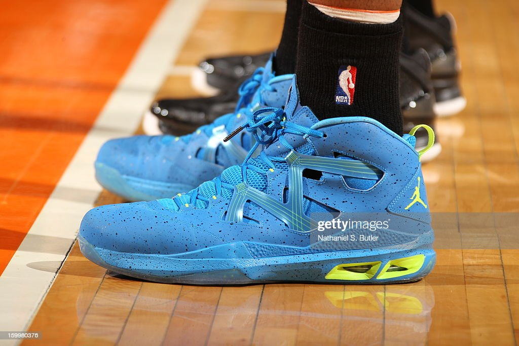 The shoes of <a gi-track='captionPersonalityLinkClicked' href=/galleries/search?phrase=Carmelo+Anthony&family=editorial&specificpeople=201494 ng-click='$event.stopPropagation()'>Carmelo Anthony</a> #7 of the New York Knicks during the game against the Brooklyn Nets on January 21, 2013 at Madison Square Garden in New York City.