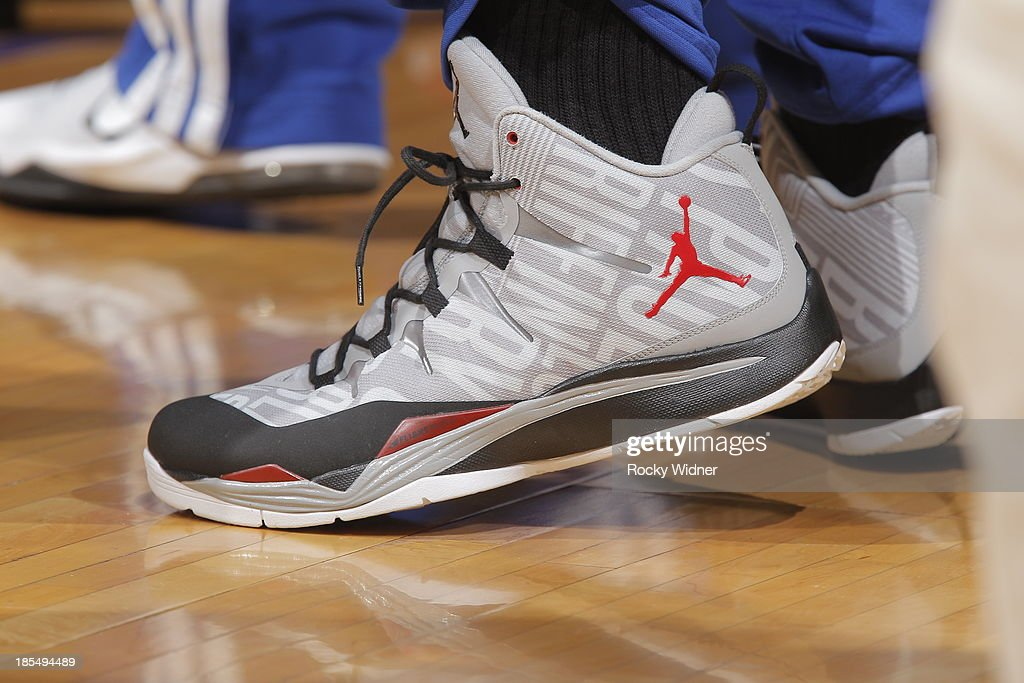 The shoes of <a gi-track='captionPersonalityLinkClicked' href=/galleries/search?phrase=Chris+Paul&family=editorial&specificpeople=212762 ng-click='$event.stopPropagation()'>Chris Paul</a> #3 of the Los Angeles Clippers during the game against the Sacramento Kings on October 14, 2013 at Sleep Train Arena in Sacramento, California.