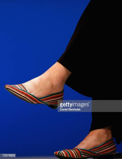 The shoes of Conservative Party MP Theresa May are pictured as she chairs a discussion at the Bournemouth International Centre during the annual...