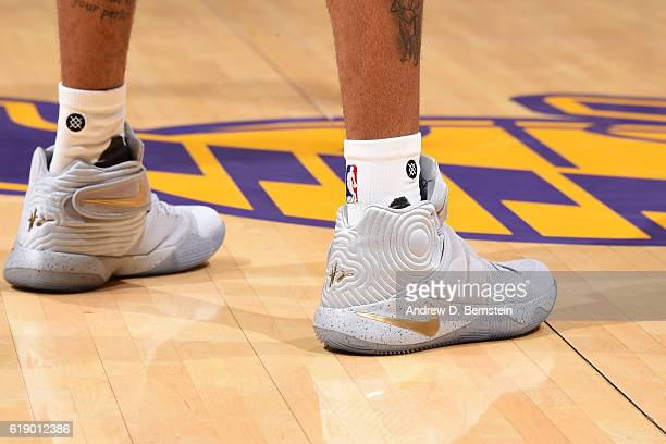 The shoes of D'Angelo Russell of the Los Angeles Lakers during the game against the Houston Rockets on October 26 2016 at STAPLES Center in Los...