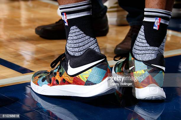The shoes of Danny Green of the San Antonio Spurs during the game against the Dallas Mavericks on February 5 2016 at the American Airlines Center in...