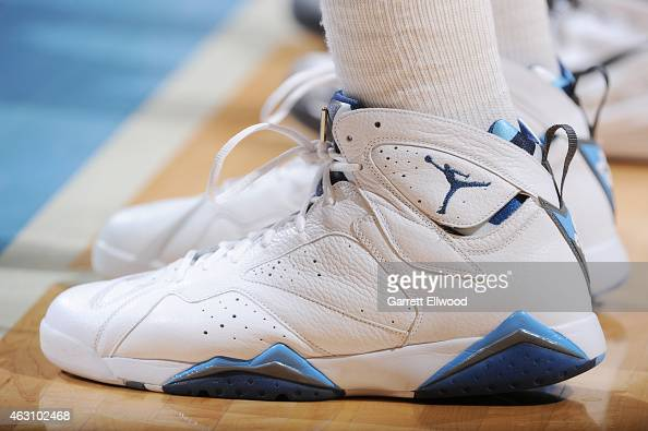 The shoes of Darrell Arthur of the Denver Nuggets as he stands on the court during a game against the Oklahoma City Thunder on February 9 2015 at...