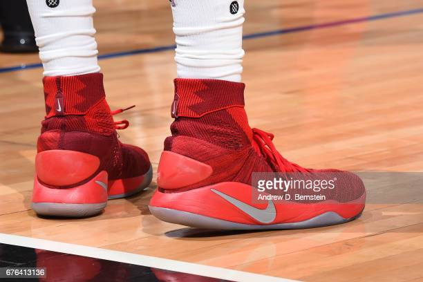 The shoes of DeAndre Jordan of the LA Clippers during Game Seven of the Western Conference Quarterfinals against the Utah Jazz during the 2017 NBA...