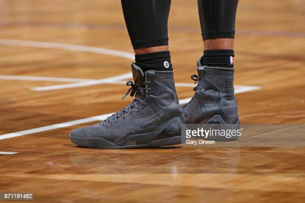 The shoes of DeMar DeRozan of the Toronto Raptors during Game Three of the Eastern Conference Quarterfinals against the Milwaukee Bucks of the 2017...
