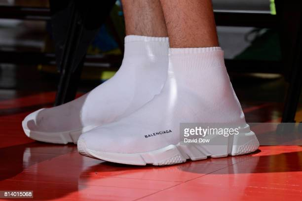 The shoes of Denzel Valentine of the Chicago Bulls during the 2017 Las Vegas Summer League game between the New Orleans Pelicans and the San Antonio...
