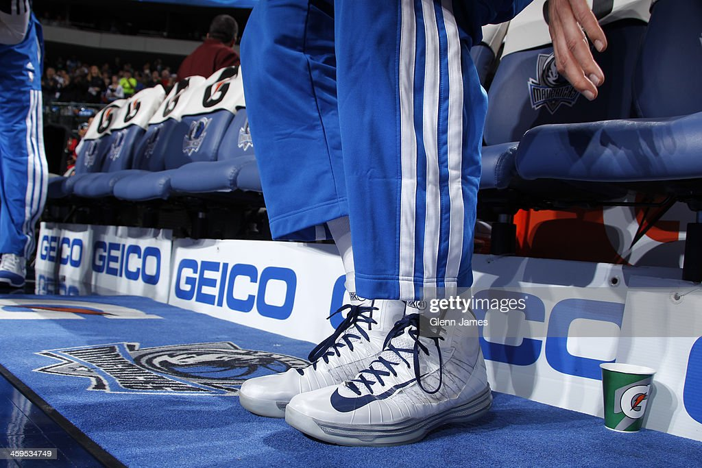 The shoes of Dirk Nowitzki #41 of the Dallas Mavericks during the game against the Memphis Grizzlies on December 18, 2013 at the American Airlines Center in Dallas, Texas.