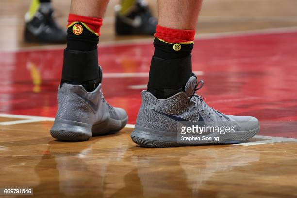 The shoes of Ersan Ilyasova of the Atlanta Hawks during the Eastern Conference Quarterfinals game against the Washington Wizards during the 2017 NBA...