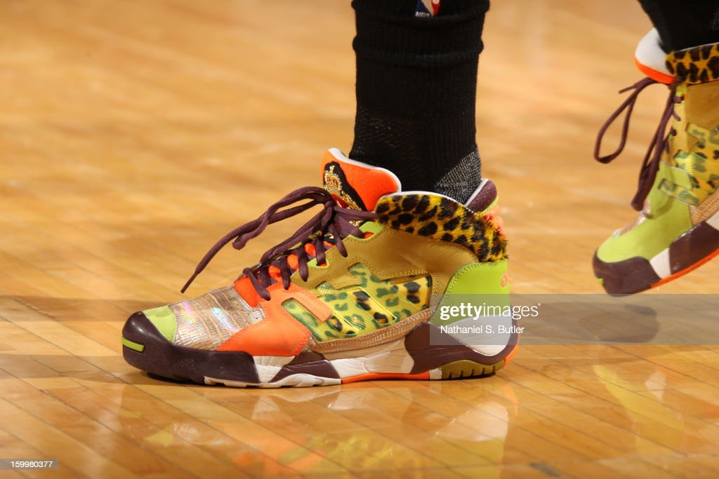 The shoes of <a gi-track='captionPersonalityLinkClicked' href=/galleries/search?phrase=Iman+Shumpert&family=editorial&specificpeople=5042486 ng-click='$event.stopPropagation()'>Iman Shumpert</a> #21 of the New York Knicks during the game against the Brooklyn Nets on January 21, 2013 at Madison Square Garden in New York City.