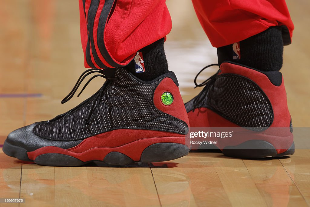 The shoes of <a gi-track='captionPersonalityLinkClicked' href=/galleries/search?phrase=Jared+Jeffries&family=editorial&specificpeople=202548 ng-click='$event.stopPropagation()'>Jared Jeffries</a> #1 of the Portland Trail Blazers during a game against the Golden State Warriors on January 11, 2013 at Oracle Arena in Oakland, California.