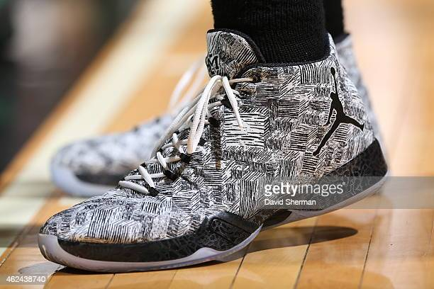 The shoes of Jared Sullinger of the Boston Celtics as he stands on the court during a game against the Minnesota Timberwolves on January 28 2015 at...